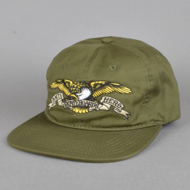 Antihero Skateboards Eagle Embroidered Snapback Cap - Army Green