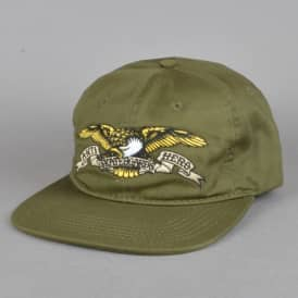 Eagle Embroidered Snapback Cap - Army Green