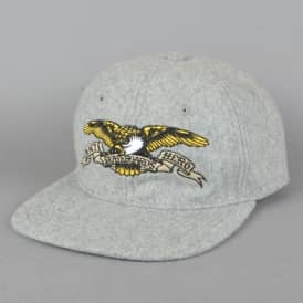 Eagle Embroidered Snapback Cap - Heather Grey