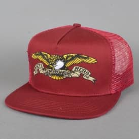 Eagle Embroidered Trucker Cap - Burgundy