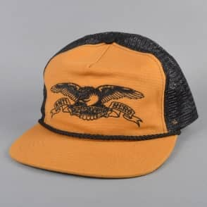 Antihero Skateboards Eagle Embroidered Trucker Cap - Tan/Black