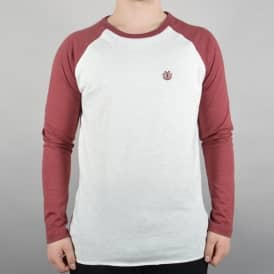 Element Skateboards Blunt Longsleeve Skate T-Shirt - White/Oxblood