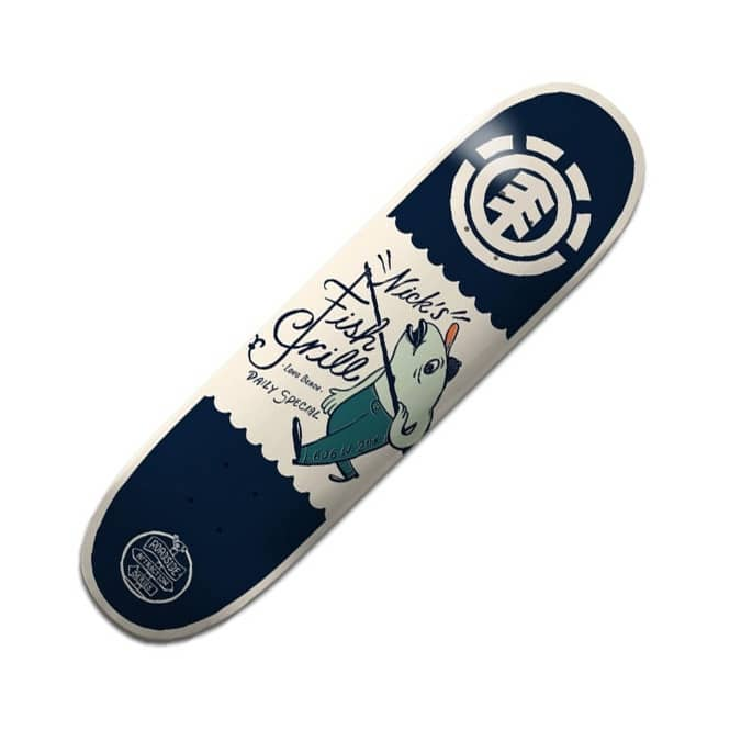 Element Skateboards Garcia Fish Grill Featherlight Skateboard Deck 8.0
