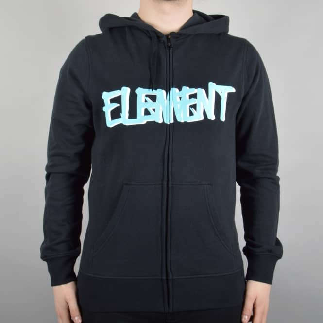 Element Skateboards Word Zip Hooded Top - Flint Black