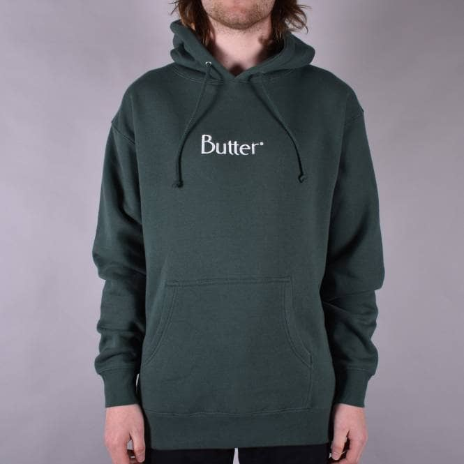 Butter Goods Embroidered Classic Logo Pullover Hoodie - Forest Green