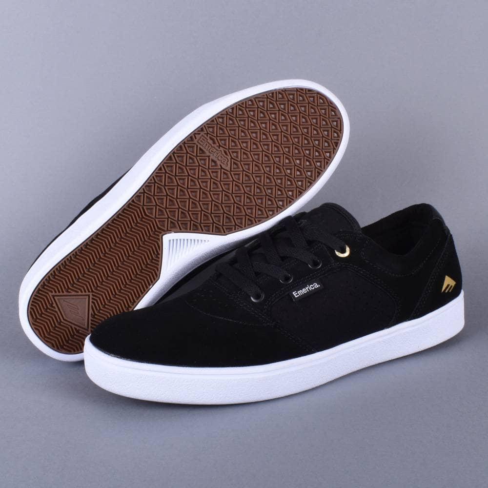 95f3b5e161011 Emerica Figgy Dose Skate Shoes - Black White Gold - SKATE SHOES from ...