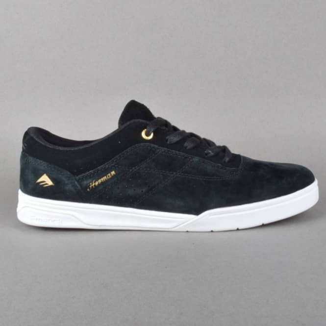 Emerica Herman G6 Skate Shoes - Black/White/Gold