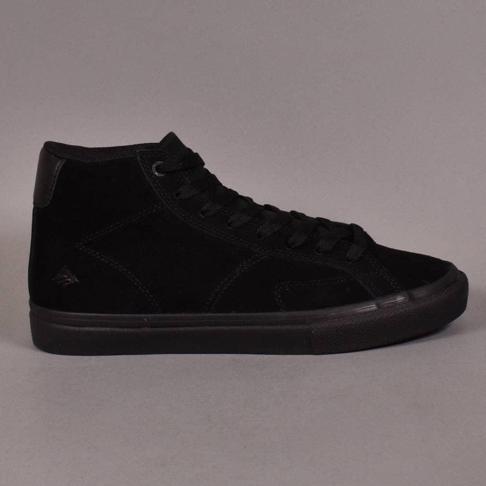 Emerica Omen Hi Black Black Gum Mens Suede Skateboard Shoes