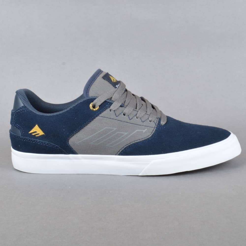 Emerica The Reynolds Low Vulc Skate Shoes - Navy Grey - SKATE SHOES ... d17ddd951