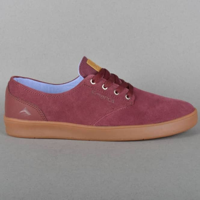 Emerica The Romero Laced Skate Shoes - Burgundy/Gum