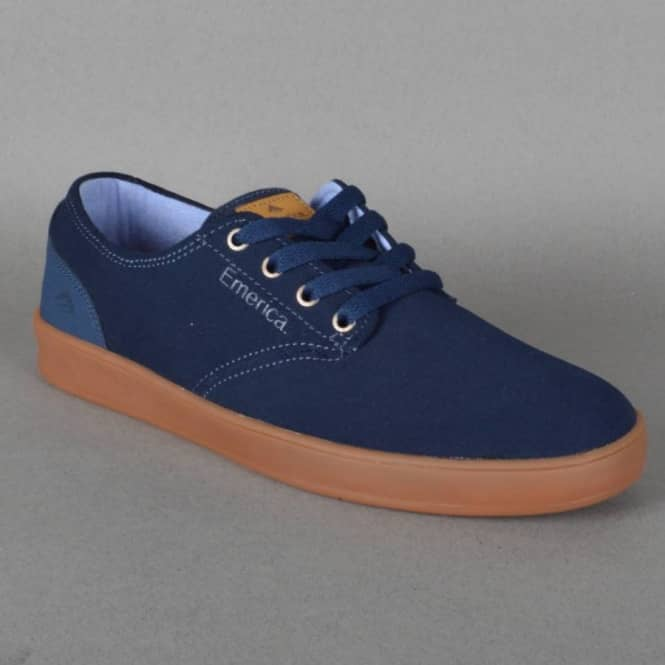 The Romero Laced Skate Shoes - Dark Blue/Gum