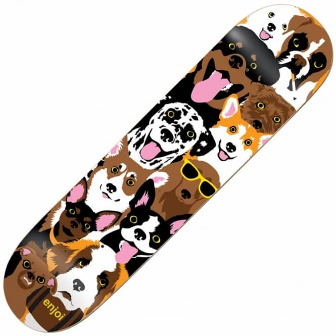 Enjoi Skateboards Dog Collage Skateboard Deck 7.75