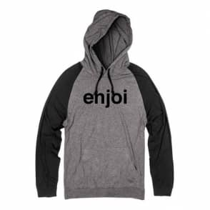 Enjoi Skateboards Helvetica Logo Raglan Lightweight Hoodie - Charcoal/Black