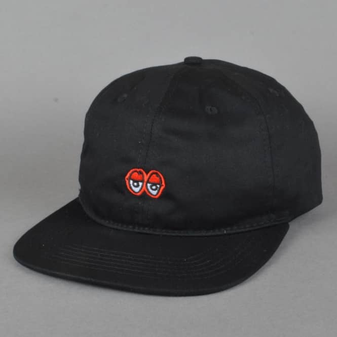 Krooked Skateboards Eyes Embroidered Strapback Cap - Black