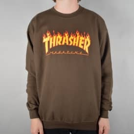 Flame Logo Crewneck Sweater - Brown