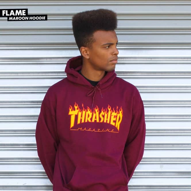 Thrasher Flame Logo Pullover Hoodie - Maroon