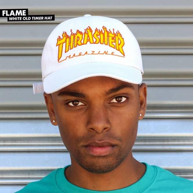 Thrasher Flame Old Timer Dad Cap - White