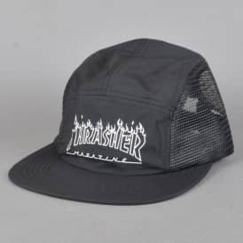 Flame Outline 5 Panel Cap - Black