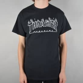 Flame Outline Skate T-Shirt - Black