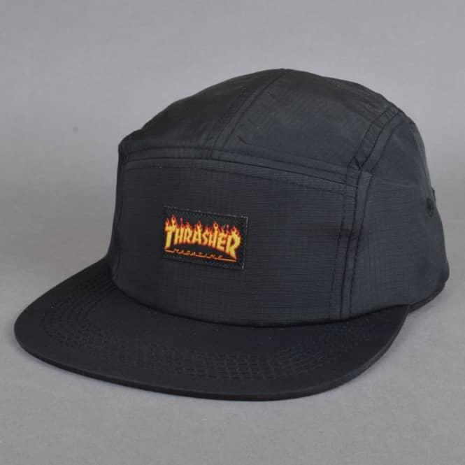 3fd09d4fc84 Thrasher Flames Logo 5 Panel Cap - Black - SKATE CLOTHING from ...