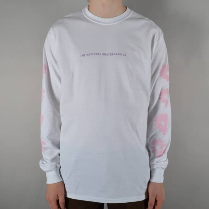 The National Skateboard Co. Flowers Longsleeve T-Shirt - White
