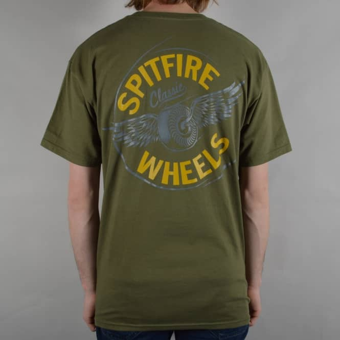 Spitfire Wheels Flying Classic Skate T-Shirt - Military Green
