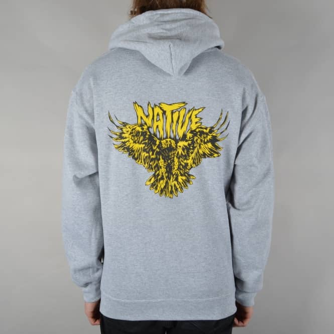 Native Flying Eagle Pullover Hoodie - Heather Grey