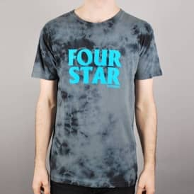 Fourstar Clothing Fourstar Four Hero Tie Dye Skate T-Shirt - Black Lightning Wash