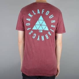 Fourstar Clothing Fourstar Sig Circle Foam Wash Skate T-Shirt - Burgundy