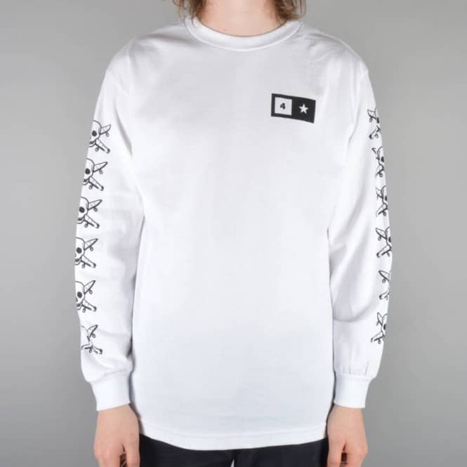 Fourstar Clothing Pirate Sleeve Long Sleeve Skate T-Shirt - White
