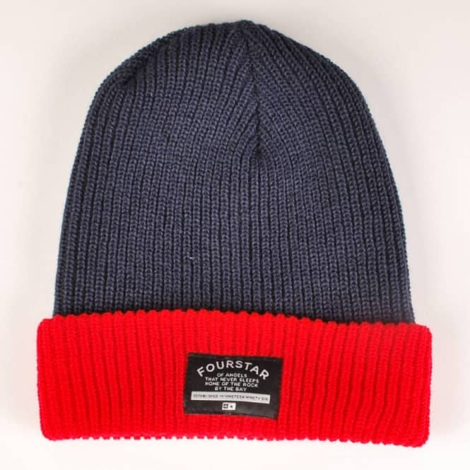 Fourstar Clothing Fourstar Two Tone Fold Beanie - Navy/Red
