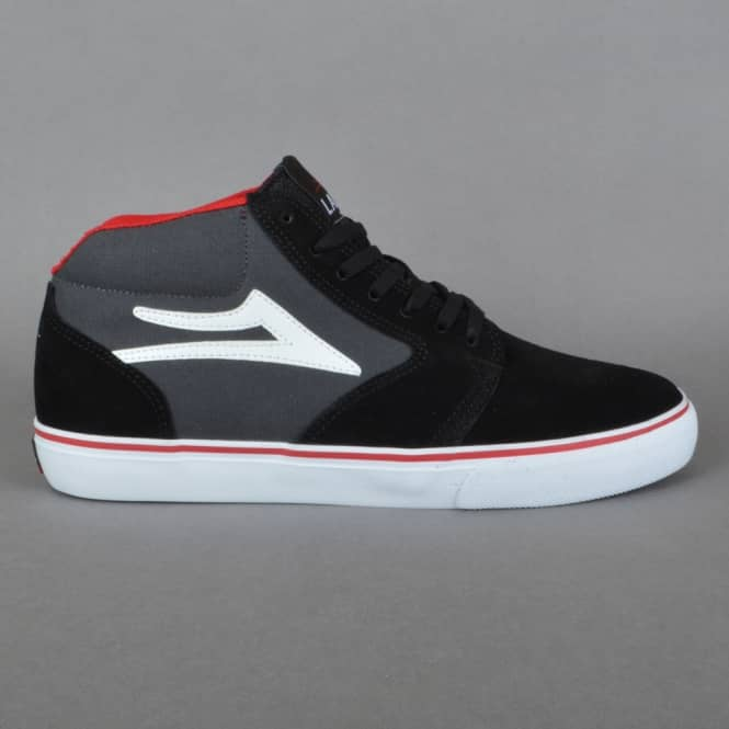 Lakai Fura High Skate Shoes - Black/Grey Suede