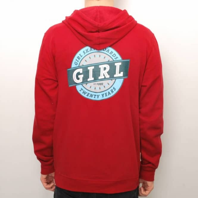 Girl Skateboards Girl Banner Zip Hoodie - Maroon