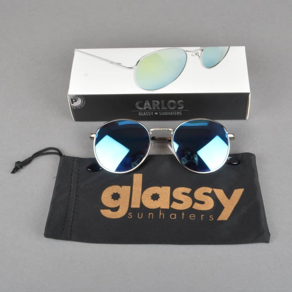 8aa4908607 Glassy Sunhaters Carlos Polarized Sunglasses - Silver Teal Mirror ...