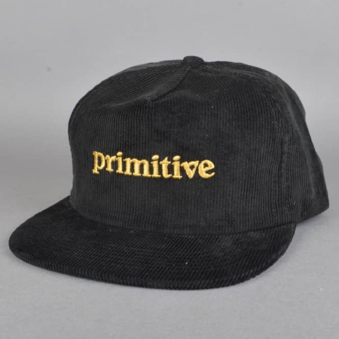 Primitive Skateboarding Good For Life Corduroy Snapback Cap - Black