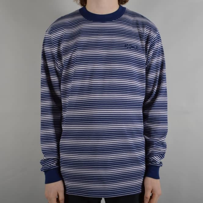 Polar Skateboards Gradient Striped Longsleeve T-Shirt - Navy/Pale Pink