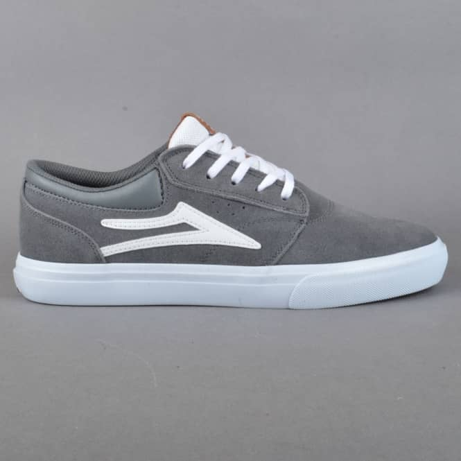 Lakai Griffin Skate Shoes - Grey/White Suede