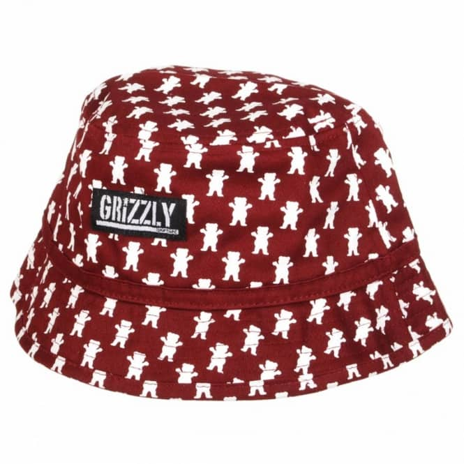 Grizzly Griptape Grizzly All Over Bucket Hat - Burgundy - Bucket ... 7be5f052f81