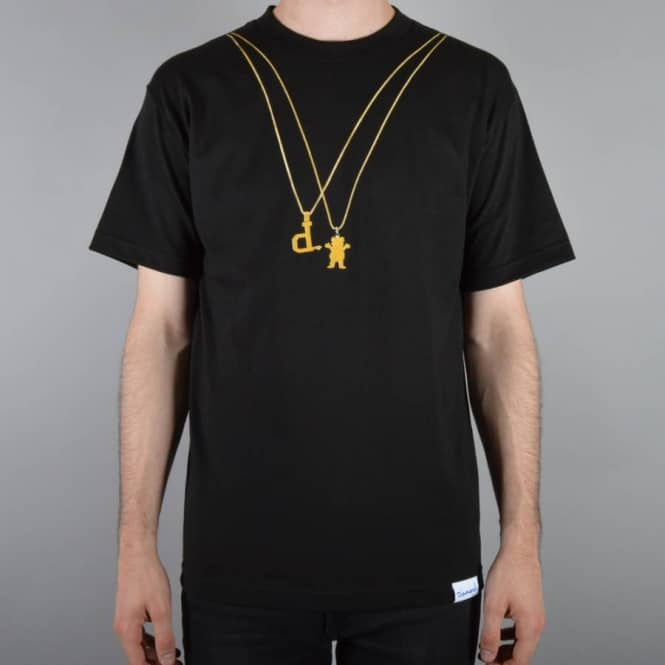 Grizzly Griptape 2 Chains Grizzly x Diamond Skate T-Shirt - Black