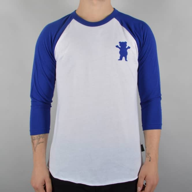 Grizzly Griptape Bad News Raglan T-Shirt - White/Royal