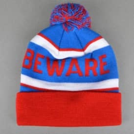 Beware Pom Beanie - Red/Blue