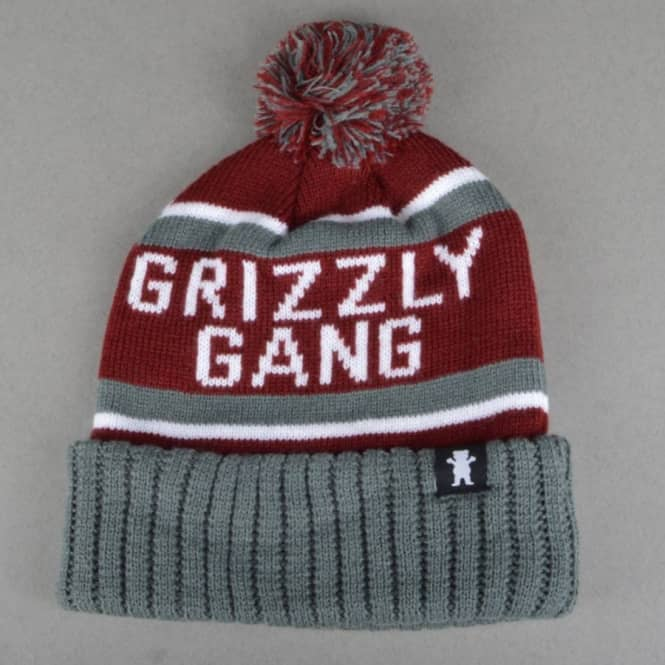 Grizzly Griptape Fanatic Pom Beanie - Burgundy/Grey