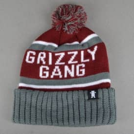Fanatic Pom Beanie - Burgundy/Grey
