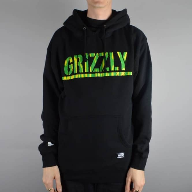 Grizzly Griptape Fire Tie Dye Pullover Hoodie - Black