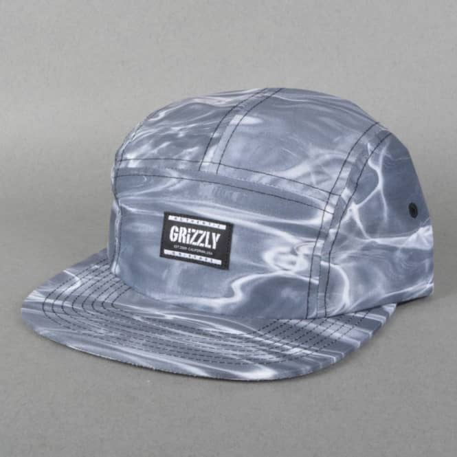 38d8616b27a Grizzly Griptape Gone Fishing Camp 5 Panel Cap - Black - SKATE ...