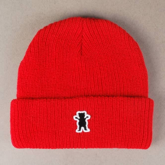 7103c5cf8be Grizzly Griptape Grizzly Bear Patch Fold Up Beanie - Red - Beanies ...