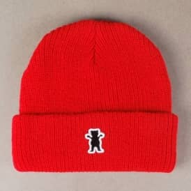 Grizzly Bear Patch Fold Up Beanie - Red