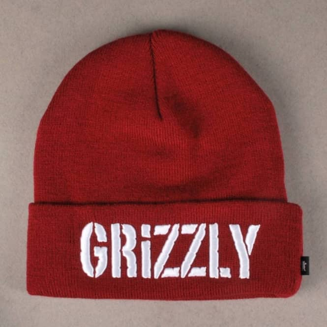 Grizzly Griptape Grizzly Puff Embroidery Beanie Burgundy Beanies