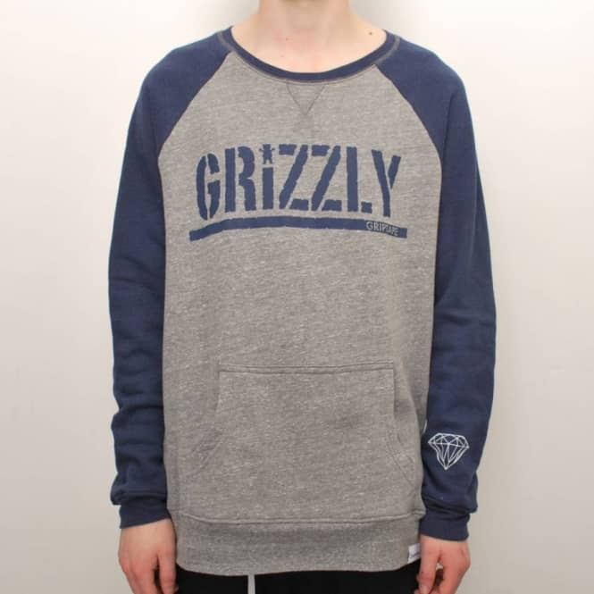 Grizzly Griptape Grizzly Stamp Raglan Crewneck Sweater - Navy/Heather