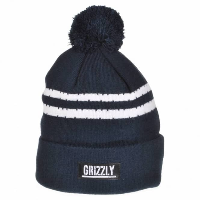 4807ea730ab Grizzly Griptape Grizzly Striped Pom Pom Beanie - Navy - Beanies ...
